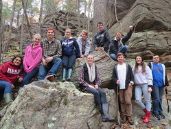The Freshwater Biology class during our trip to sample local wetlands in Snake Den State Park