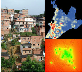 Left: Pau da Lima favela in Salvador, Brasil. Right: density and landscape resistance maps for rat movement.